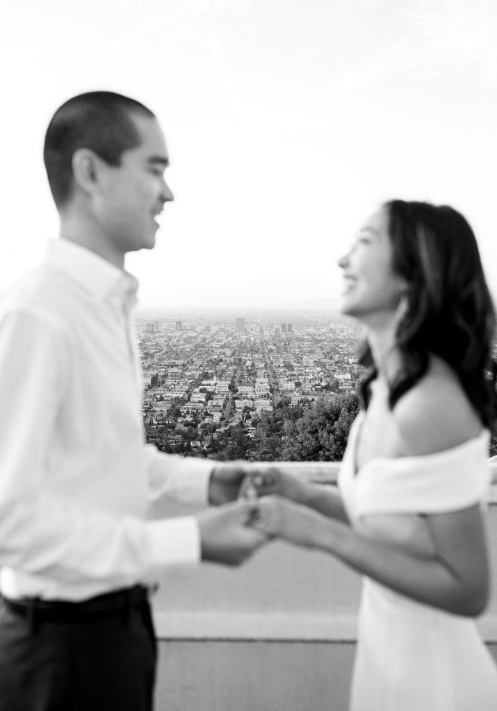 Socal Los Angeles Griffith Observatory Engagement Photoshoot by Boston, MA and Los Angeles Modern Wedding Photographer