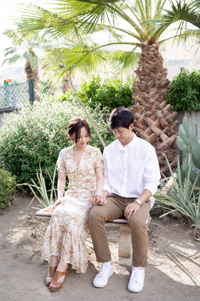 Joshua Tree Palm Springs Moorten Botanical Garden Engagement Photos by Boston, MA and Socal Los Angeles, CA Modern and Minimalist Wedding Photographer