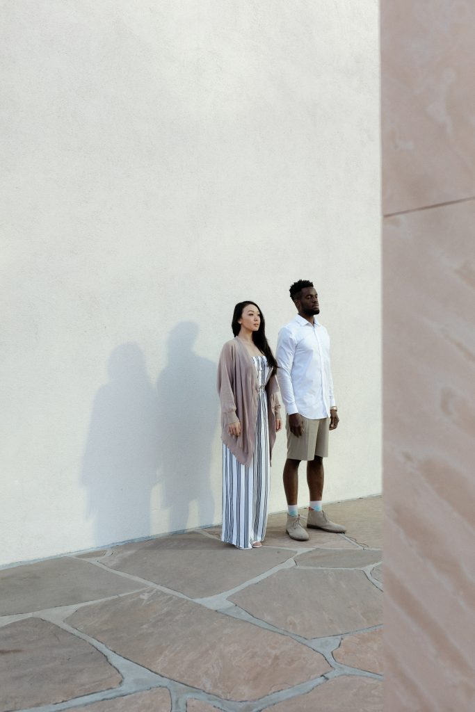 Noguchi Garden Couple Engagement Photoshoot Gallery by Boston MA and Los Angeles SoCal Modern and Minimalist Wedding Photographer