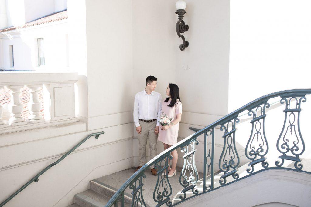 Pasadena City Hall Engagement Photos Boston Massachusetts New England Modern Wedding Engagement Photographer